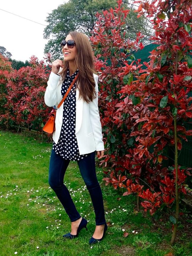 Polka dots blouse look