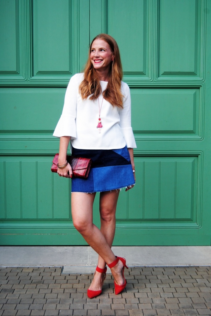 White shirt and denim skirt look