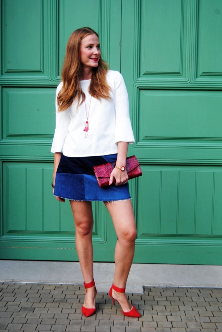 Denim skirt patchwork look