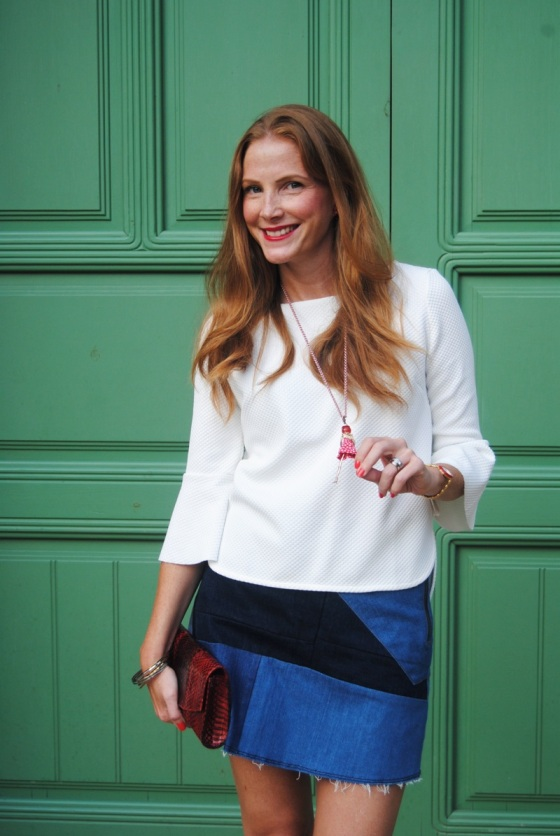 Blusa jacquard blanca de Zara