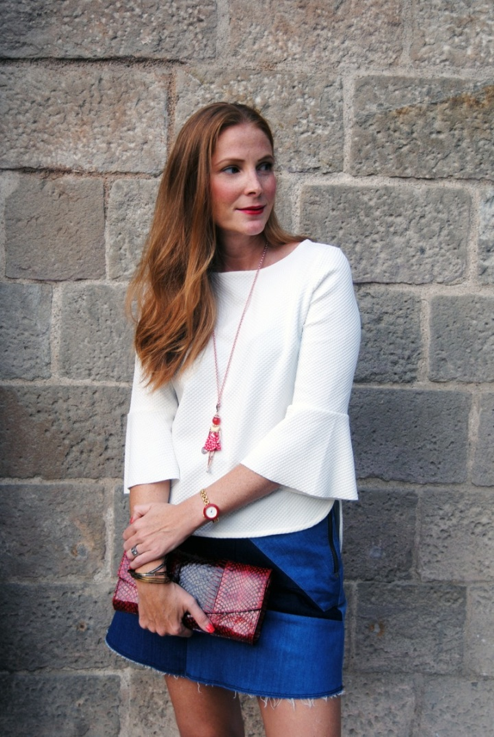 White jacquard blouse