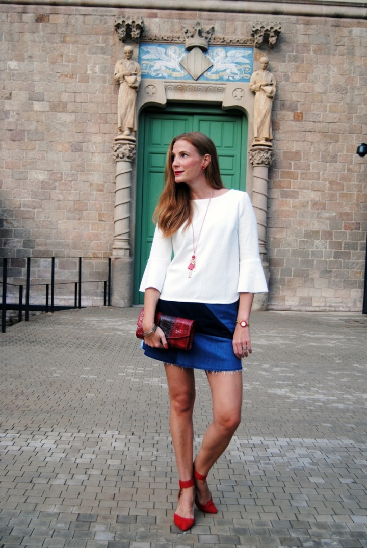 Look con falda de parches denim