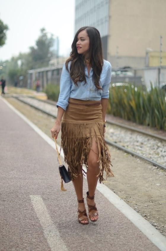 fringed skirt look