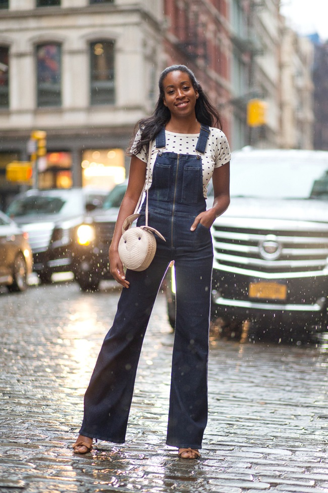 Denim bell bottom overall look