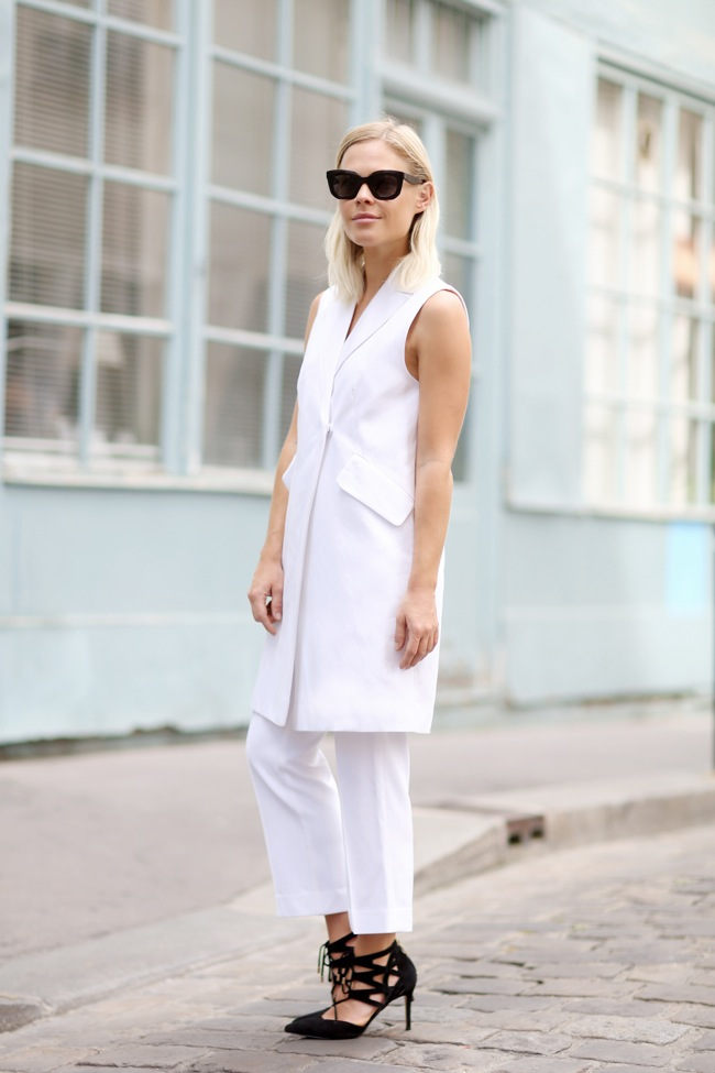 White Sleeveless coat look
