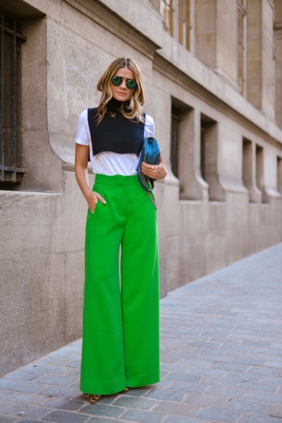 Flared green pant look
