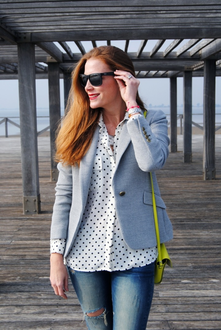 Dots blouse and grey blazer