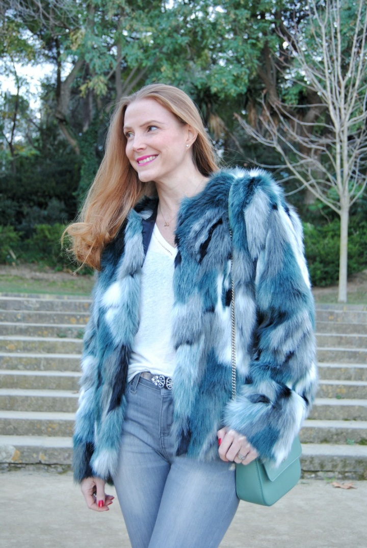 Green faux fur coat