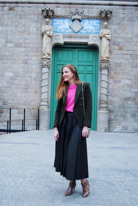 Pleated-green-skirt