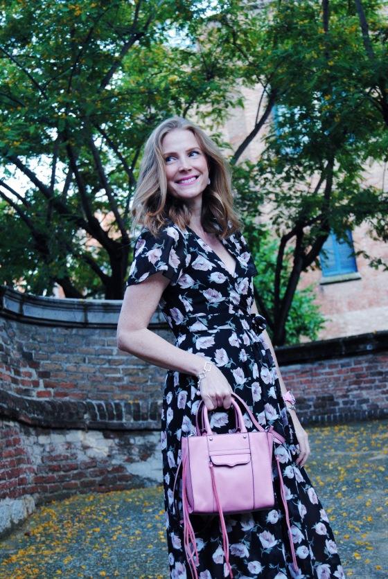 Floral dress and Rebecca Minkoff bag