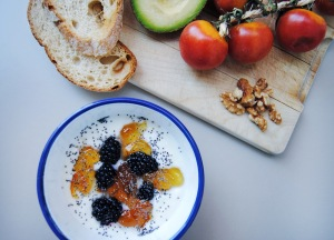 healthy breakfast with yogurt
