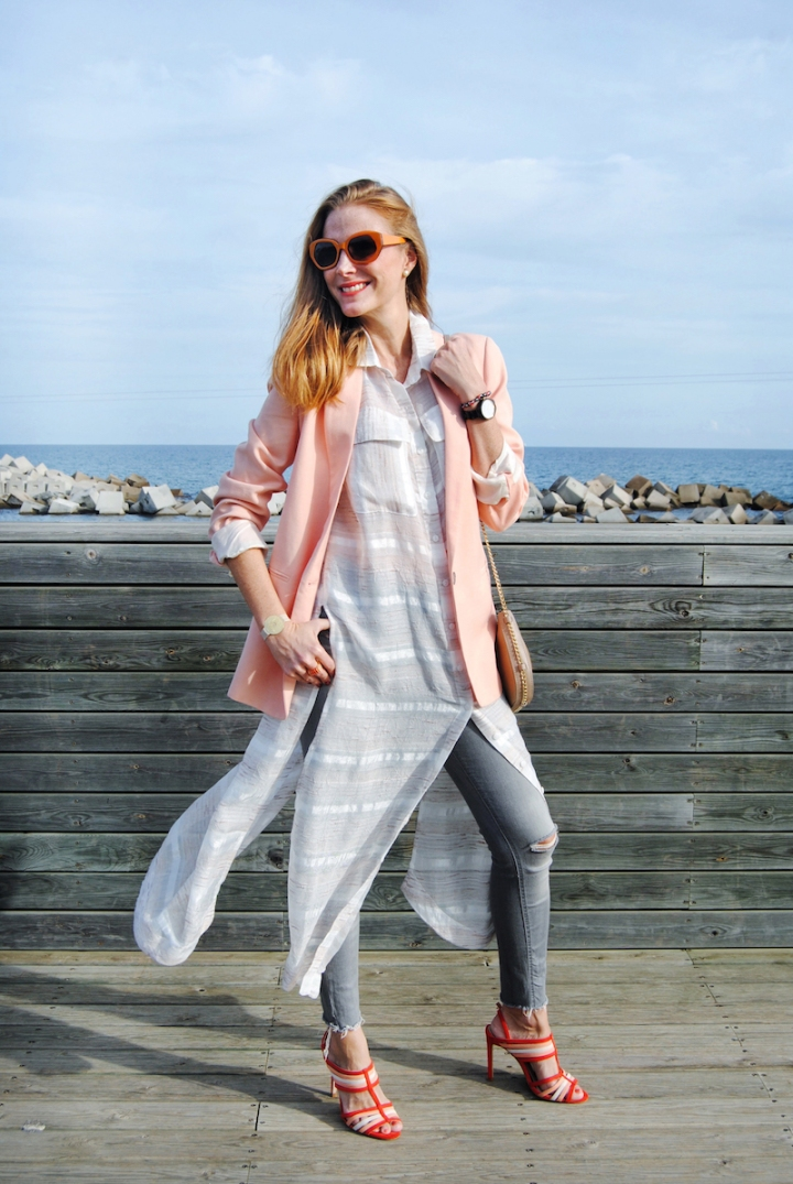 oversize blazer and maxi blouse look