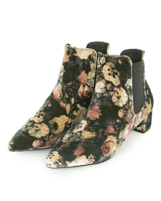 Pointed floral boots