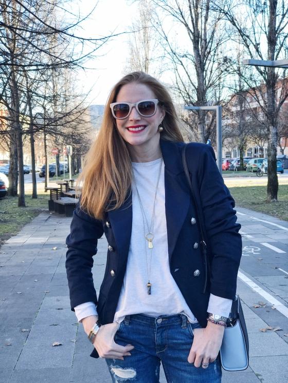 blazer azul marino Almatrichi