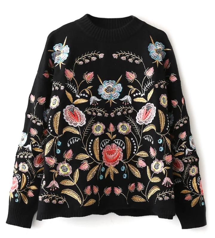 zaful embroidered sweater
