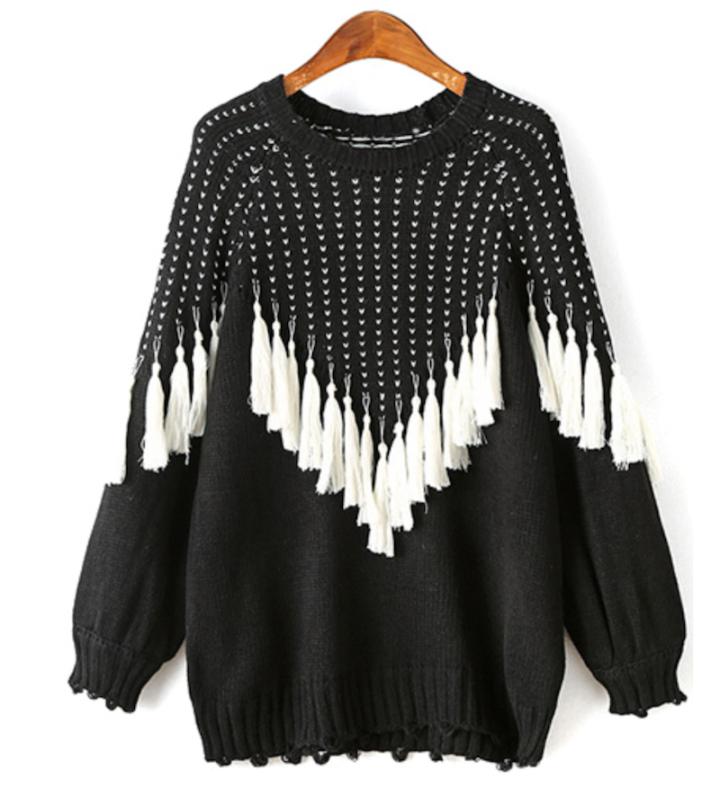 zaful black and white sweater