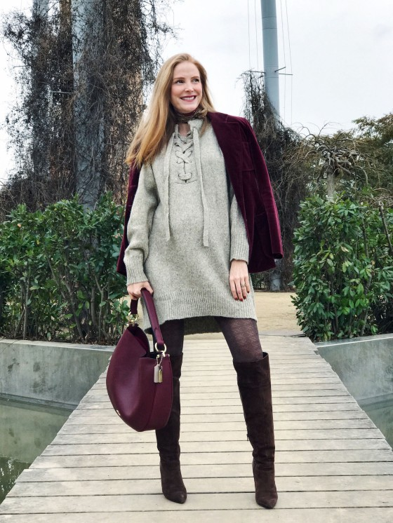 burgundy velvet jacket and bag