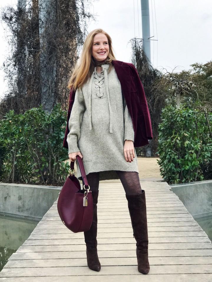 burgundy velvet jacket and bag