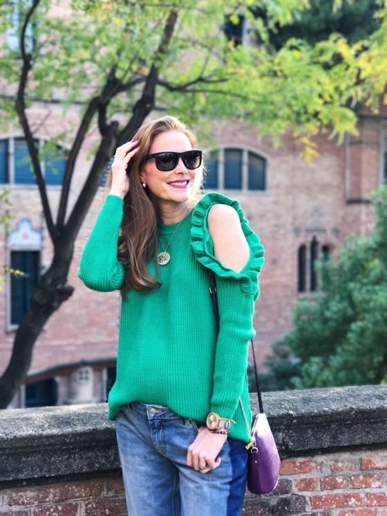 Jersey verde con volantes