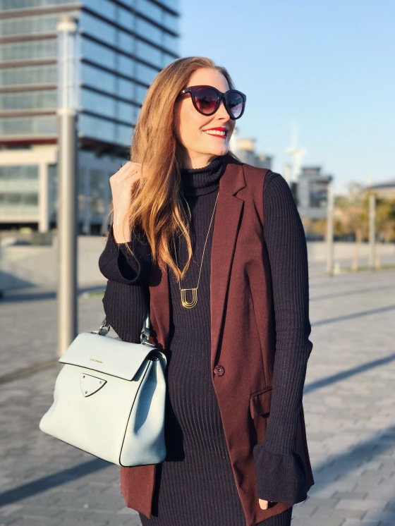 look con chaleco burgundy