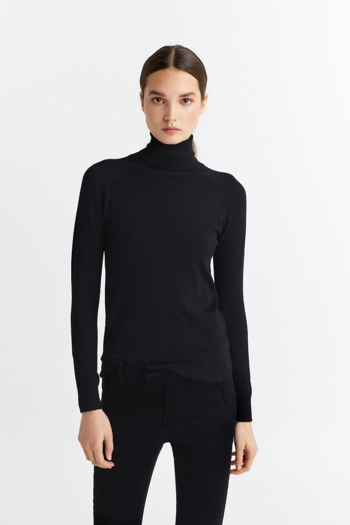 jersey cuello tortuga negro